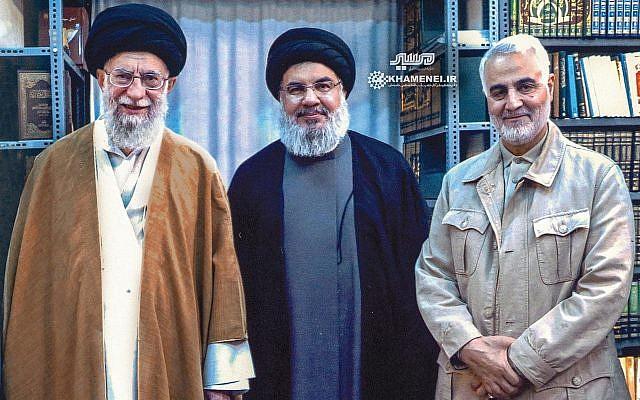 El Ayatollah Khamenei junto a su lacayo libanés Hassan Nasrallah y su abatido jefe militar Kasem Soleimani