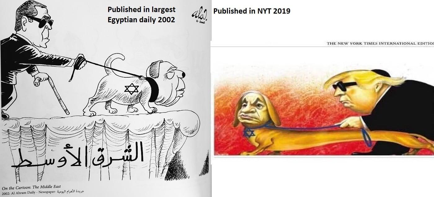 Caricatura antisemita aparecida en New York Times, réplica de otra que salió en un periódico egipcio en 2002