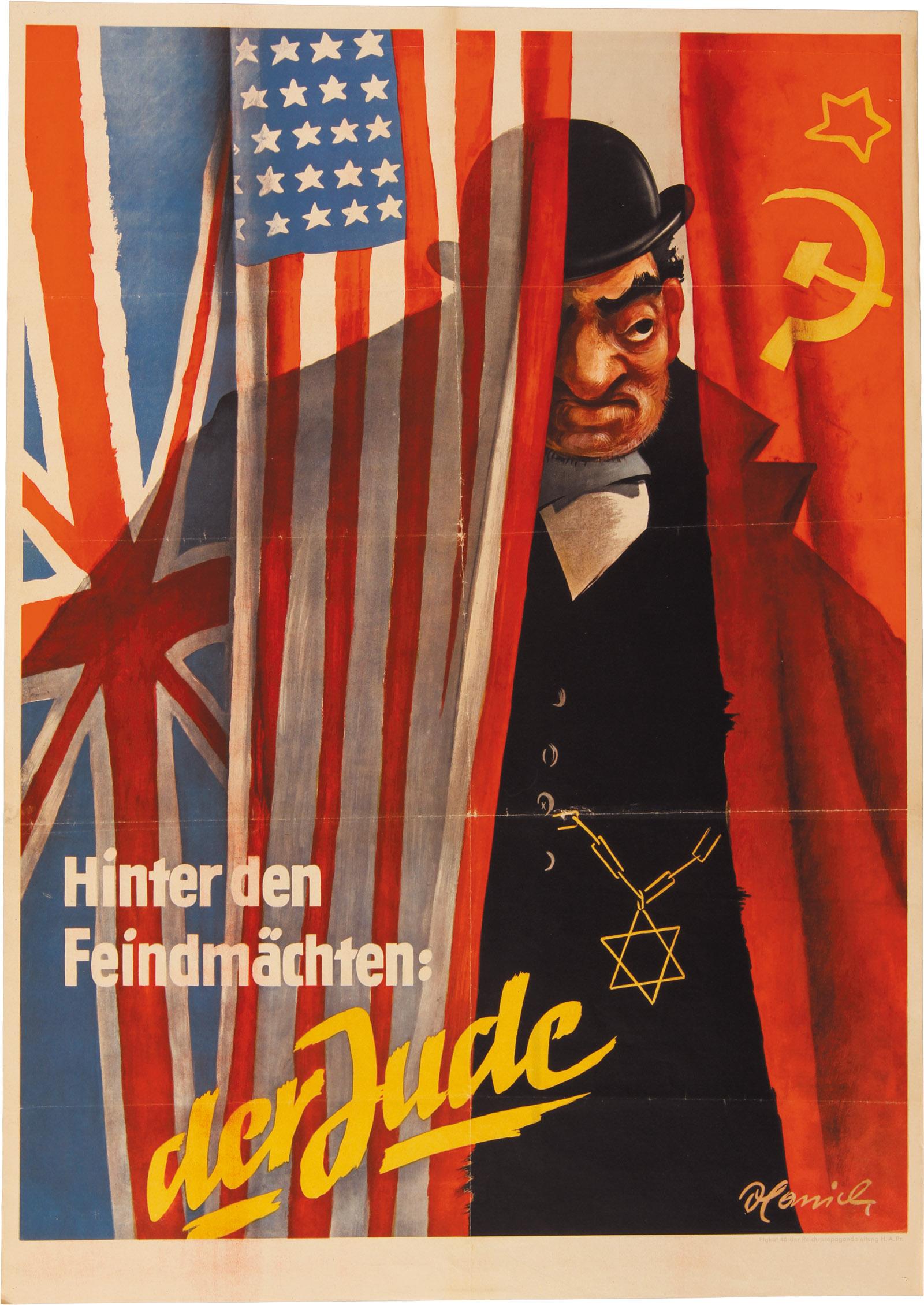 Caricatura nazi clásica del judío como capitalista y comunista