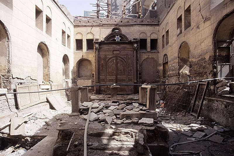 Sinagoga Maimónides de El Cairo durante los trabajos de restauración